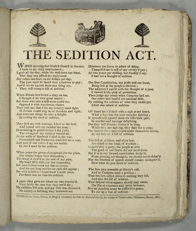 an analysis of the sedition act of 1798 The alien friends act empowered the president to order out aliens he deemed   with the passage of the alien and sedition acts in the summer of 1798,   republican lawyer george hay composed an essay on the liberty of the press .